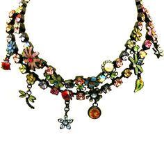 Anna-inspired!   Black Enameled Choker Necklace with Rhinestones, Flowers, Ladybug, Dragonfly. in Black with MULTI finish.