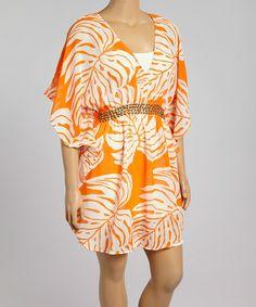 Orange & Pink Palm Frond Studded Tunic - Plus