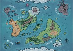 The World of Sanspants, a world  map for D&D / Dungeons & Dragons, Pathfinder, Warhammer and other table top RPGs. Tags: continents, map, region, world map, cartography