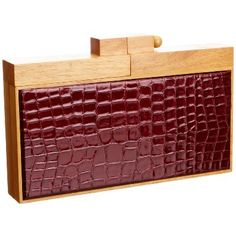 French Connection Wooden Patent Croc Clutch