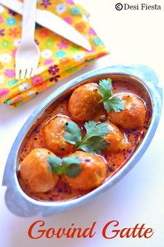 Rajasthani #Yum Yum Govind Gatte #Recipe, made w/ Besan / Bengal gram flour. Another Version here: http://www.homecooksrecipe.com/2008/05/rajasthani-gatte-ki-sabzi.html
