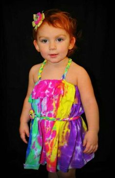 Tie dye tshirt made into toddler dress