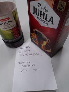 Yrityslukiolaisille Kiitokset kahvin, mehun ja jo hävinneiden pikkuleipien kera.