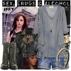 Effy Stonem/SKINS. by latschka on Polyvore featuring mode, Elizabeth and James, Bess, H&M, Philippe Audibert, Rebecca Minkoff, Nuit N°12, Forever 21, NARS Cosmetics and Kat Von D