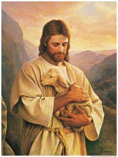 jesus pictures | Jesus Christ cradling a lamb