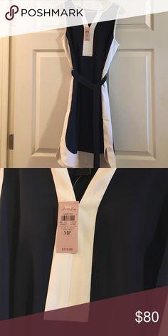 NWT Navy and white Ann Taylor dress NWT. Belt detaches. Very flattering! Ann Taylor Dresses