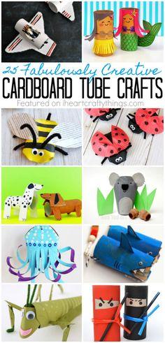 25 Fabulously Creative Cardboard Tube Crafts | I Heart Crafty Things #fun_cardboard_crafts