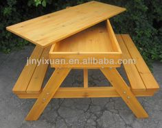 Wooden Picnic Table And Bench With Sandpit / Outdoor Table U0026 Chairs / Kids  Garden Bench
