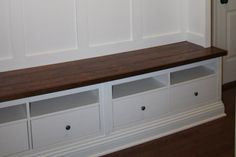 Using Ikea Hemnes TV cabinet - need something like this to make banquette seating Entryway Bench Ikea, Mudroom Storage Bench, Ikea Bench, Storage Bench Seating, Entry Bench, Entryway Storage, Bench With Storage, Storage Ideas, Mudroom Cubbies