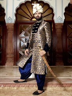 Blue & Brown Brocade Embroidered Chipkan Style Sherwani