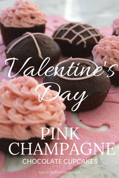 Valentine's Day Pink Champagne Chocolate Cupcakes