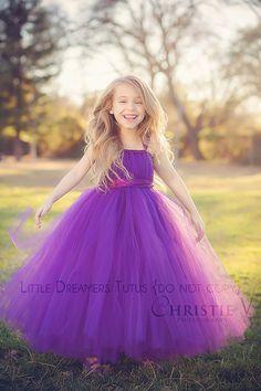 Plum Flower Girl Tutu Dress by littledreamersinc on Etsy