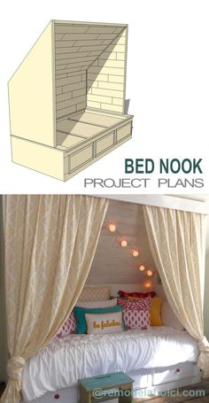 Make your own cozy built-in bed nook! Perfect for a teen or tween room, or for a guest room slash office, too! Project plans at Remodelaholic.com