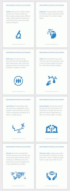 Eight postcards for promoting our workshops in storytelling for social innovation