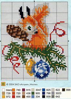 Squirrel Prepares for Xmas Cross Stitch Christmas Ornaments, Xmas Cross Stitch, Cross Stitch Cards, Cross Stitch Animals, Christmas Embroidery, Cross Stitch Flowers, Christmas Cross, Cross Stitching, Cross Stitch Embroidery
