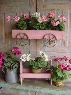 Planter Box Pink Wagon Wall Mounted French by baconsquarefarm, $125.00