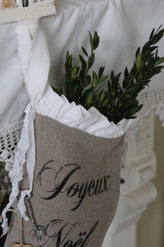 Linen Burlap Christmas Stocking