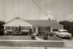 1950s houses | Does this suburban tract house, with a 1950s car in the driveway, look ...