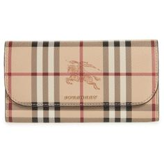 Women's Burberry Harris Check Faux Leather Wallet (1.490 BRL) ❤ liked on Polyvore featuring bags, wallets, black, vegan leather wallet, checkered bag, vegan wallet, checked bag and vegan bags