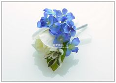 Hand Made White Rose and Blue Hydrangea Wedding Boutonniere Bride and Groom Corsage Silk Flower Free Shipping 6pcs/lot-inDecorative Flowers ...