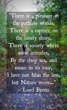 """14 Quotes to Inspire You to Take a Hike this Fall- """"There is pleasure in th.- 14 Quotes to Inspire You to Take a Hike this Fall- """"There is pleasure in the pathless woods… I love not Man the less, but Nature more…"""" – Lord Byron Byron Poetry, New Quotes, Inspirational Quotes, Yoga Quotes, Poetry Quotes, Motivational, Walking Quotes, Nature Words, True Nature"""
