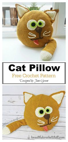 6 Fun Animal Cat Pillow Free Crochet Pattern and Paid The Fun Animal Cat Pillow Free Crochet Pattern has adorable designs, which little ones will love cuddling up with. This would be a wonderful gift for a cat lover. Crochet Dinosaur Pattern Free, Crochet Cat Pattern, Crochet Square Patterns, Free Crochet, Cat Crochet, Crochet Twist, Crochet Dolls, Free Pattern, Knitted Cat
