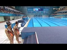 Team GB synchronised swimmers Genevieve Randall and Jodie Cowie final routine in the duet competition at the first European Games in Baku 2015