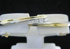 Diamond Bangle Bracelet, 1/2CT TW, 14K Two-Tone White & Yellow Gold, NEW!