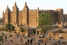 This is the Great Mosque in Djenné, Mali. It is the largest mud brick (adobe) building in the world. More, including video, at www.naturalhomes.org/great-mosque-djenne.htm