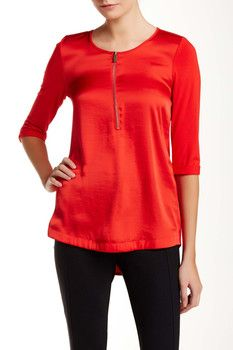 ade71885bc9 Vince Camuto 3/4 Length Sleeve Half Zip Tunic Blouse (Petite) Tunic Blouse