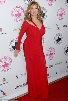 Talented and beautiful  Raquel Welch looked incredible in a bold red number  that had long 84b337edf