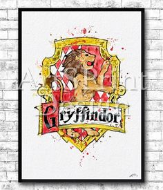 Gryffindor Crest 2 Watercolor Print Harry Potter Fine Art Print Nursery Art Home Decor Wizard Nursery Kids Room Gift Gryffindor Crest Poster  You will get this image without watermark on it.  This Colorful Gryffindor Crest is archival art print of my original watercolor illustration.  Here you can see my works of Painted glass: https://www.etsy.com/shop/HandPaintedGlassArtS  ❀ BUY 2, GET 1 FREE!  ❀ LIMITED TIME ONLY  ❀ Buy ANY 2 prints and get one free (of the same size- e...