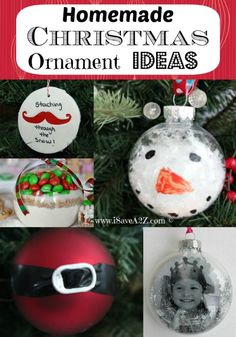 Homemade Christmas Ornament Ideas - Love These Simple Ideas! So Cute for family gifts