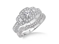 14 white gold wedding set