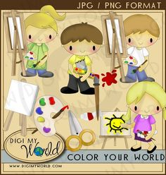 Coloring Artist Kids , painting kids, kawaii style clipart images for scrapbooking and card making. $3.99, via Etsy.