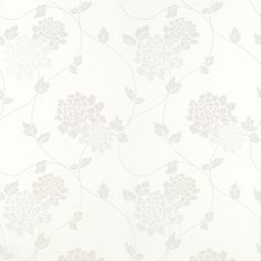 Isodore Cotton White Floral Wallpaper | Laura Ashley