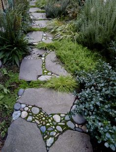 Mosaic path///garden path? This would be a very attractive way to repair old, broken cement pathways.