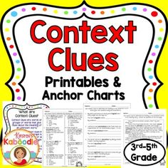 These no prep Context Clues Printables offer print and go, common core aligned, context clues activities for 3rd, 4th, and 5th grade. This easy to use product includes 4 instructional pages, 4 pages of multiple choice questions, 4 pages of fill in the blank, and 2 pages of stories followed by printables that ask students to define underlined words using context clues (and also look them up in the dictionary to check for accuracy).