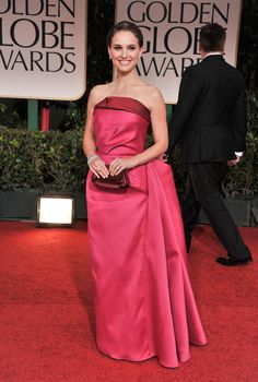 Pin for Later: Over 60 of Natalie Portman's Best Red Carpet Looks Ever Natalie Portman in Fuchsia Lanvin Gown at the 2012 Golden Globes She stepped out in a custom-made fuchsia and pink Lanvin creation at the 2012 Golden Globes. Estilo Natalie Portman, Natalie Portman Style, Natalie Portman Golden Globes, Nathalie Portman, Tea Length Dresses, Red Carpet Looks, Red Carpet Dresses, Red Carpet Fashion, Hollywood Glamour