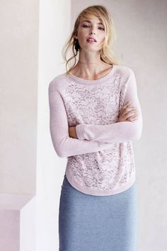 LOVE this muted pink pullover. I do like pencil skirts, too. I have a few in grey, burgundy, and pink. I like the dusty blue.