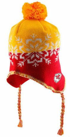 Kansas City Chiefs Womens Hat Knit Braided Pom Beanie Cap NFL Authentic   amp  NEW. 2b540707b277
