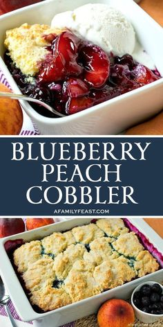 Our Blueberry Peach Cobbler has a fruity filling nestled under a sweet buttermilk cobbler topping. This is the ultimate summer dessert! vegetarisch Best Blueberry Peach Cobbler - A Family Feast® Summer Dessert Recipes, Healthy Dessert Recipes, Fruit Recipes, Gourmet Recipes, Delicious Desserts, Yummy Food, Cooking Recipes, Cake Recipes, Tasty