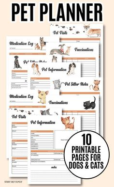 Organize your pet records with a printable pet binder! Keep all your pets information in one place with this 10 page printable pet planner. Includes pages for dogs and cats, with pet information, vaccine records, pet medication log, pet sitter notes and m Pet Care Tips, Dog Care, Puppy Care, Horse Care, Medication Log, Pet Sitting Business, Dog Walking Business, Pet Sitter, Pet Dogs