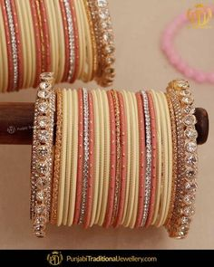 Punjabi Bangles - Buy Latest Punjabi Bangles Online In At Best Price Silk Thread Earrings Designs, Gold Earrings Designs, Bridal Bangles, Bridal Jewelry, Gold Bangles Design, Jewelry Design, Bangle Ceremony, Indian Jewelry Sets, Women Jewelry