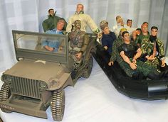 Lot of 14 GI Joe Family of Action Figures with Accessories One Jeep& One Boat ebay $0.98