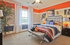 Contemporary Kids Bedroom with Carpet, High ceiling, flush light, interior wallpaper, Ceiling fan