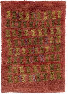 Eva Brummerin Helavalkeat ryijy. Designed 1956, valmistettu taiteilijan omassa kutomossa 1958. 190 x 130 cm  Whitsun Bonfires Rya Rug, Wool Rug, Textile Patterns, Textiles, Floor Rugs, Handicraft, Rugs On Carpet, Bohemian Rug, Weaving