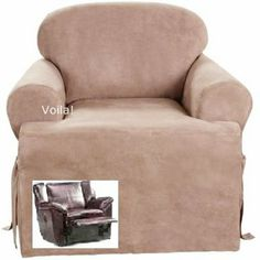 Reclining CHAIR T Cushion Slipcover Suede Taupe Adapted For Reclining Club  Chair