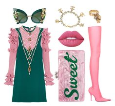 """Pinky Ivy"" by juliaisapunk on Polyvore featuring moda, Balenciaga, Gucci, Edie Parker, Dolce&Gabbana, Lime Crime, Chanel e Versace"