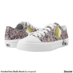 Crushed Sea Shells Beach Printed Shoes with optional postit message, from ZoeSPEAK